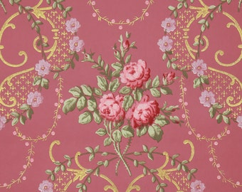 1900s Vintage Antique Wallpaper Pink Rose Bouquets with Gold Metallic Accents on Pink by the Yard