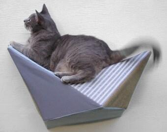 Cat shelf wall bed in grey twill, muted mustard & stripes