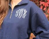 Monogrammed Pullover with Quarter Zip,  Monogram Sweatshirt, Monogram Pullover, Monogrammed 1/4 Zip Sweatshirt