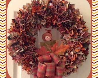 "18"" Thanksgiving Cornucopia Fabric Fall Wreath"