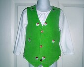 Child's Corduroy Vest, Handmade, Embroidered Santa Faces, Button Front, Belted back, Christmas, Holiday, Unisex, Holiday Celabrations