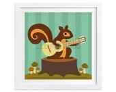 146 Squirrel Wall Art - Squirrel Playing Guitar Wall Art Print - Guitar Nursery Art - Squirrel Wall Art - Guitar Decor - Boy Nursery Art