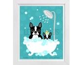 93D - Bathroom Art - Boston Terrier Dog and Puppy in Bubble Bath Wall Art - Cute Dog Print - Bathroom Wall Decor - Bath Print - Puppy Print