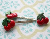 3 red double cherries hair bobby pins,silver hair bobby pins,double cherries,women,teens,girls,surprise bag,cherry bobby pins,costume party