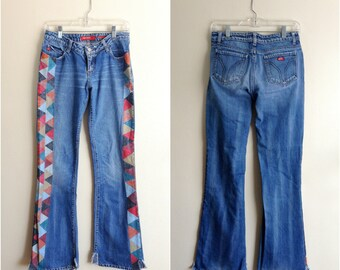Upcycled Miss Sixty jeans / painted denim jeans / painted distressed denim
