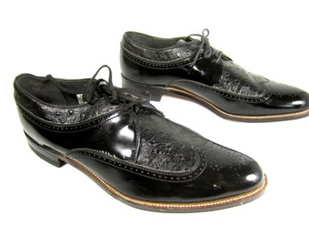 vintage 1990s STACY adams black PATENT leather lace up two tone wing tip oxfords mens 11 1/2 D DAYTON victorian style gatsby brogue