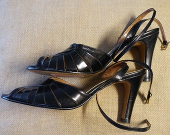 Vintage Black Leather Wrap Around High Heel Sandals Shoes Footworks USA 7 / 7.5