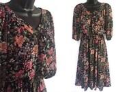 70s Black with Floral Print V-Neck Sheer Dress S