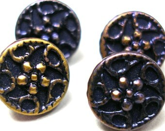 "Mini Antique BUTTONS, 4 Victorian flowers, navy blue, 3/8""."