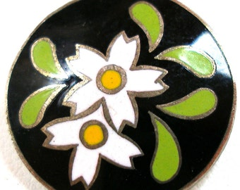 50s Enamel BUTTON, Japanese flowers in white & yellow on black.