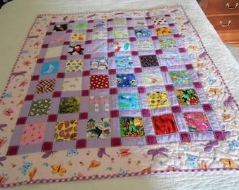"Terrific Handmade ""I Spy"" Quilt for a Little Girl All Cotton 38 1/2"" X 44"""