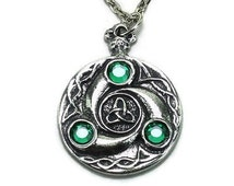 Celtic Triskelion Medallion Pendant Necklace, Antique Silver Pewter Jewellery, On Chain Cord or Leather, Unisex Gift 8CAPP154