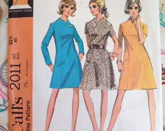 "Vintage 60s McCalls 2011 Dress Pattern, Size 22.5 Bust 45"" Half-Size Uncut, Factory Folds"