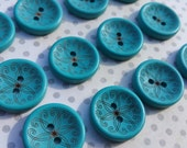Wood Buttons - Bright Aqua Teal Sewing Button - Pattern No 1 Scroll - 13/16""