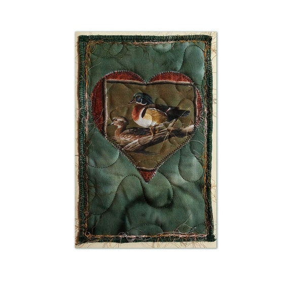 Quilted Fabric Greeting Card Featuring Male and Female Wood Ducks Free USA Shipping Appliqué Collage