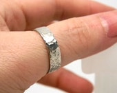 Sterling Silver Hand Forged Hammer Textured Ring Antiqued Finish