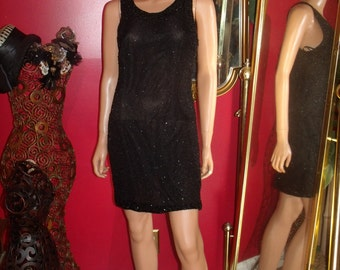 Vintage  G.Gatsby 90s Black Flapper Dress Fully beaded  Size none