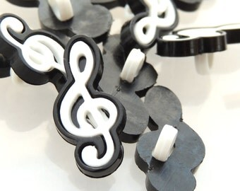 Black and White Treble Clef Buttons by Buttons Galore