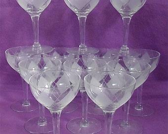 Vintage Etched Wine Glasses