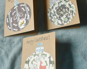 Christmas Ornament Dachshund Collage Card Set Of 3 Cards With Envelopes