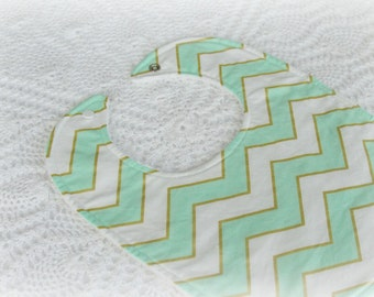 Chevron - Mint - Gold - Bib