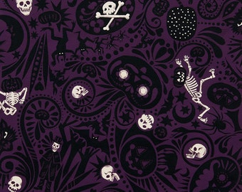 Midnight Muetos in Prune - By Alexander Henry 100% Quilters Cotton Available in Yards, Half Yards and Fat Quarters