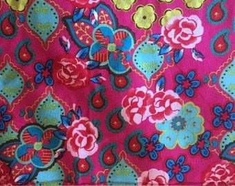 Stenzo Fine Whale CORDUROY Fuchsia Turquoise Floral Paisley Available in Yards and Half Yards 61012-21
