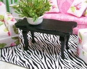 Large Zebra Rug Black White Carpet 1:12 Dollhouse Miniature Artisan