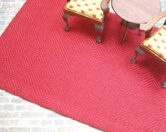 Maroon Rug Diamond Cube Carpet 1:12 Dollhouse Miniature Scale Artisan