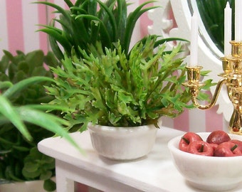 Fern Potted House Plant Green White 1:12 Dollhouse Miniature Artisan