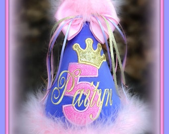 Rapunzel Birthday Hat, Glitter Princess Number/Crown,  First Birthday Hat,  2nd Birthday Hat,  You Choose Colors,      by GINGHAM BUNNY