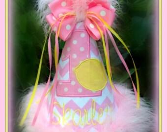 Pink Lemonade Birthday Hat,  Pink Lemonade 1st Birthday Hat, or Crown/Number Hat  You Choose Colors, by GINGHAM BUNNY