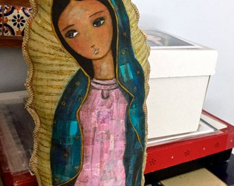 Pre - Order Our Lady of Guadalupe - Original Art Small Pillow Doll  (13 inches) by FLOR LARIOS