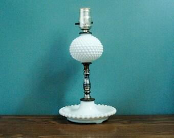 Vintage hobnail lamp