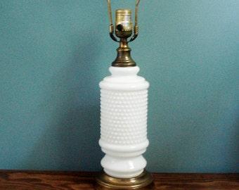 Large vintage hobnail lamp