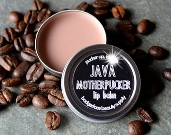 Coffee Lip Balm. Java Motherpucker Lip Balm. Funny Lip Balm. Coffee Lovers Gift. Coffee Lovers. Coffee Flavored. Novelty Gift. Swear Words.