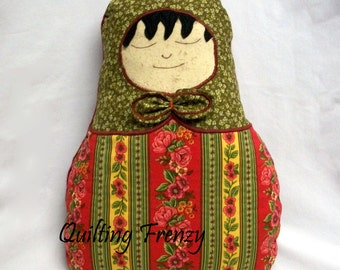 OOAK, Matryoshka, Pillow Doll,  Quilted, Throw Pillow, Quiltsy Handmade