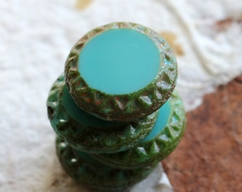 TURQUOISE SUN .. 4 Premium Picasso Czech Chunky Coin Beads 16mm (4784-4)