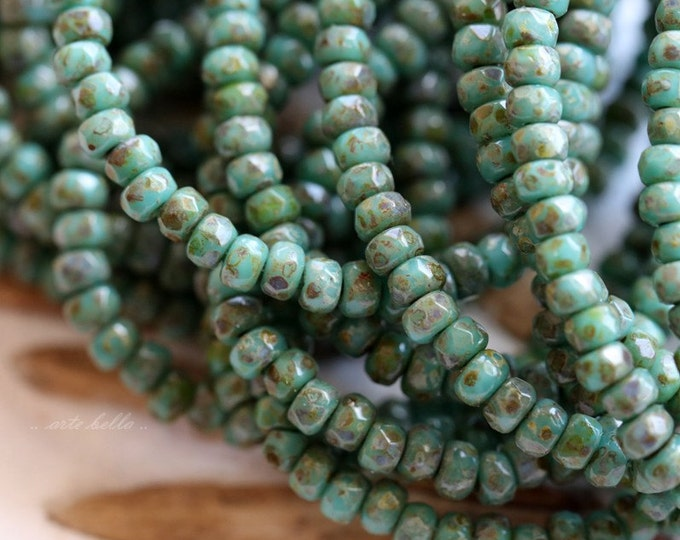 sale .. TEAL PICASSO BITS .. 50 Premium Czech Glass Rondelle Beads 2x3mm (5294-st)