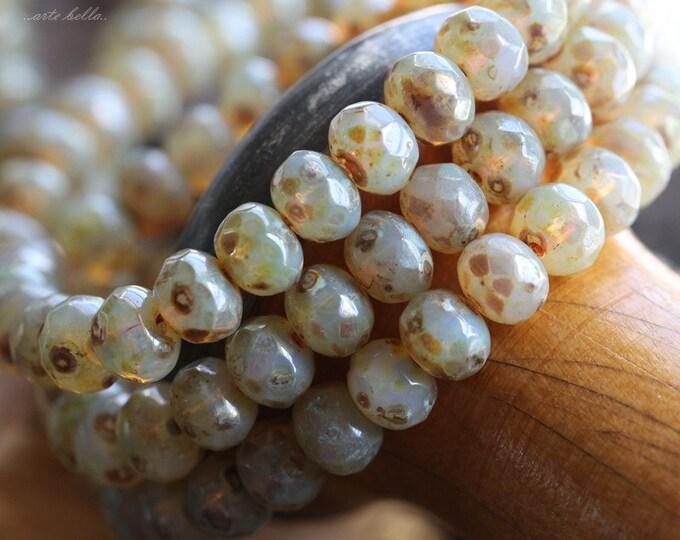 CASHMERE GLOW No. 3 .. 10 Premium Picasso Czech Rondelle Glass Beads 5x7mm (4772-10)