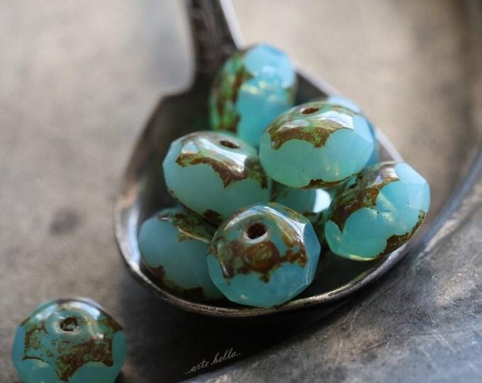sale .. CASCADE .. 10 Premium Picasso Czech Glass Beads 6x8-9mm (4756-10)