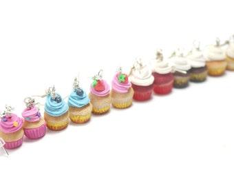 Cupcake Earrings, Miniature Food Jewelry, Polymer Clay Food Jewelry