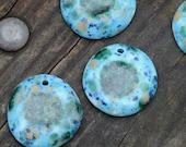 Pottery Focal Pendant Bead, Blue Caprice