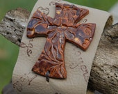 SALE Leather cuff with Christian Words and Handmade Pottery Cross