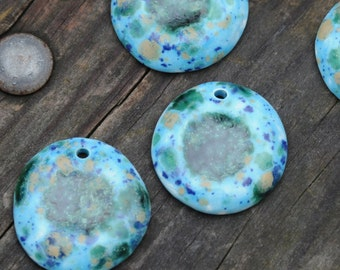 Pottery Focal Pendant Bead, Blue Caprice