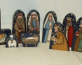 Child's Wood Nativity Set - 13 Pieces - Hand Painted