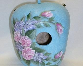 Hydrangea,Tulips, Lilacs and Daisies Flower Garden Apple Gourd Birdhouse - Hand Painted Gourd