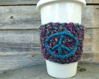 Embroidered Coffee sleeve with Peace Sign Coffee Cozy Reusable Coffee Accessories Stocking Stuffer Peace Sign Teal Pink Purple