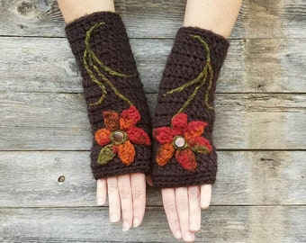 Fingerless Gloves with Flowers Armwarmers Wool Gloves Womens Arm Warmers Fall Gloves Brown Rust Orange Texting Gloves - MADE TO ORDER