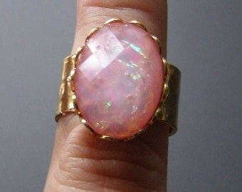 Imitation Pink Opal Ring, Acrylic Fire Opal Ring, Plated Hammered Brass Adjustable Vintage Style Ring 5 6